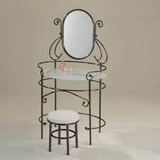 Juliet Glass Vanity Makeup Table Set Black Nickel Metal w/ Round White PU Stool