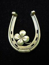 """JJ"" Jonette Jewelry Bronze Pewter 4-LEAF CLOVER & Horseshoe LUCK Pin"