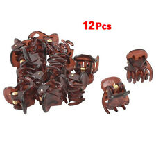 12X Lovely Coffee Plastic Mini Hairpin 6 Claws Hair Clip Clamp For Women