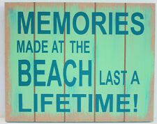 Nautical Wall Art Wood Sign Plaque Coastal Beach Decor MEMORIES MADE AT THE ...