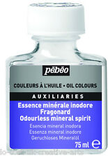 ODOURLESS SOLVENT MINERAL SPIRIT 75 ml OIL COLOURS AUXILIARY FOR MEDIUM, VARNISH
