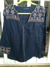 VELVET Anthropologie Embroidered Navy Boho/Peasant Top Size Small