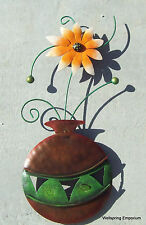 "Vase, Green Stems and Orange Flower 22"" Wall Art Handcrafted Porch Patio Indoor"