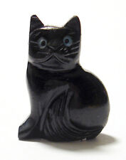CARVED - BLACK ONYX CAT Spirit Animal Totem w/Card- Healing Reiki Stone
