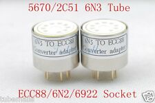 1piece*Gold plated 5670 6N3 2C51(TOP) TO ECC88 6922 6N2 tube converter adapter