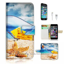 iPhone 7 (4.7') Flip Wallet Case Cover P1046 Beach