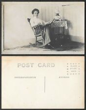 Old Real Photo Postcard - Woman in Rocking Chair - Table, Lamp