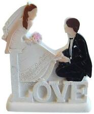 BRIDE & GROOM ON A WHITE GLITTERED LOVE PEDESTAL WEDDING CAKE TOPPER DECORATION