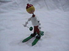 """New Vintage Skier Skiing Doll on springs Goula Made In Spain 3 1/4"""" tall white"""