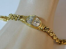 "Vintage SAL Swarovski 1/2 Moon Crystal Gold Fancy Link Chain 7"" Bracelet 10f 60"