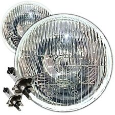 "7"" DOMED LENS CLASSIC CAR SEALED BEAM HEADLIGHTS  HALOGEN CONVERSION NON PILOT"