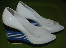 PRADA Womens White Patent Leather Peep-Toe Striped Wedge High Heel Pump SZ 6-36