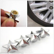 4 X Chrome Five-Pointed Star Style Car Wheel Tire Valve Air Dust Covers For Mini