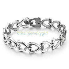 Mens Ladies Love Promise Polished Stainless Steel Heart-link Chain Bracelet 7.8""