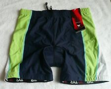 """NWT Unisex navy/lime TYR padded multi-sport racing shorts 5"""" size XL approx 30""""."""