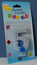 CANDELINA GLITTER AZZURRO n. 5 ANNI 7 cm. Festa Party BIMBO Happy Birthday