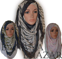 Two Tone Abstract Hijab Maxi Lining Ombre Scarf Wrap Shawl