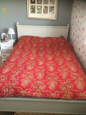 ANTIQUE HAND SEWN RARE WELSH QUILT RED PAISLEY TWO SIDED COTTON