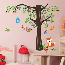 Birds Wall Stickers Fox Tree Zoo Jungle Nursery Bedroom Baby Decal Decor Mural