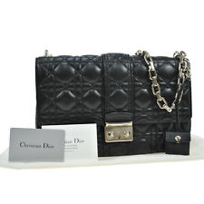 Auth Christian Dior Cannage Chain Shoulder Bag Black Leather Vintage BT11576