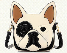 Ladies Faux Leather 3D Stitched French Bulldog Medium Handbag & Shoulder Strap