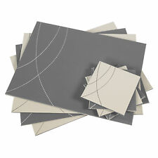 Set of 4 Placemats & Coasters Grey Reversible Flip Faux Leather Place Mats Drink