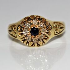 Victorian style Sapphire Diamond Cluster 14ct Yellow Gold ring size i ~ 4 1/2