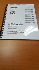 SONY SLR A330 380 SLR CAMERA PRINTED INSTRUCTION  MANUAL USER GUIDE 172 PAGES A5