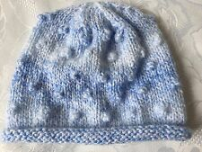 Hand Knitted Baby Boys Rolled Brim Hat, Blue Marble Effect Wool, Fits 0-3 Months