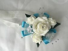 Wedding Flowers Ivory Rose bouquet , Bride, Bridesmaid, Flower Girl wand brooch