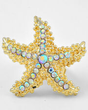 COASTAL PARTY RING! Large Gold RHINESTONE STARFISH ring Stretch NWT  3733