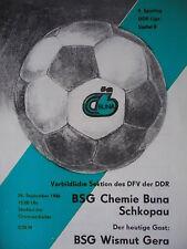 Programma 1986/87 BSG Chemie Buna Schkopau-bismuto Gera