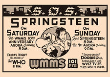 Bruce Springsteen - WMMS promo poster for the Agora show in 1978 (reprint)