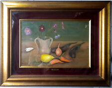 Mario Cortiello (1907-  1981).  Natura morta con fiori e frutta.
