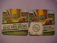 Beer Coaster ^ Anheuser-Busch Bud Light Lime ~ Win a 2012 Football Pro Bowl Trip