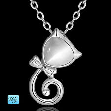Ladies & Girls Beautiful 925 Sterling Silver Cat White Pendant Necklace S/F
