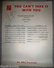 1951 Original You Can't take it With You, GeGe Pearson Personal SIGNED Script