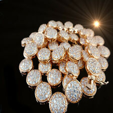 """MEN'S ROSE GOLD FINISH LAB SIMULATED DIAMOND 1 ROW CLUSTER NECKLACE CHAIN 31""""NEW"""