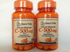 2 Puritan's Pride Vitamin C-500 mg with Rose Hips Time Release 200 Caplets