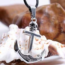 Men's Stainless Steel Nautical Boat Skull Anchor Jesus Cross Pendant Necklace