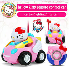 Car Hello Kitty Remote Control Rc Toys Pink Sound Music Light Cute New Kids Gift