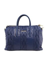 Miu Miu RL0099 Blue Matelasse Leather Tote