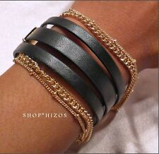 NEW BLACK LEATHER TRIPLE STRAP GOLD MULTI CHAIN LINK LAYERED CLASP BRACELET