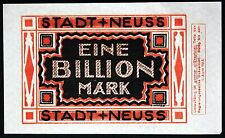 NEUSS 1923 1 Trillion Mark *rare* hyperinflation banknote Notgeld Germany