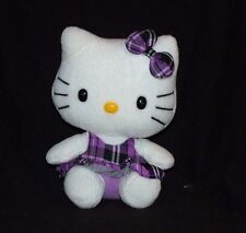 """Ty Beanie Baby Sanrio Hello Kitty Purple Plaid Dress Hair Bow Plush 6"""""""