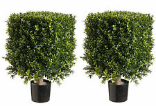 "2 Artificial 21"" H x 12"" Square Boxwood Topiary UV Outdoor Hedge Tree Patio Pool"