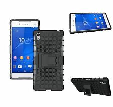 For Sony Xperia Z5 Rugged Tough Armour Rubberised Hard Back Case Cover - Black