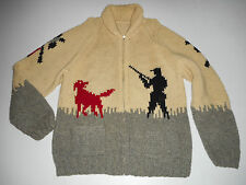 Vtg PHEASANT Bird HUNTING Cowichan WOOL Cardigan Sweater SHAWL COLLAR Dog : LG