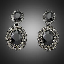 Fashion Black Vintage Party Lady Crystal Rhinestone Women Dangle Stud Earrings