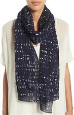 NWT $138 EILEEN FISHER Italian Cotton Scarf MIDNIGHT Navy Blue / Mocha 72X24